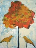 Gold Birds And Maple Fine Art Print