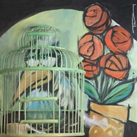 Bird In Cage With Potted Plant Fine Art Print