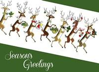 Line Of Reindeer Fine Art Print