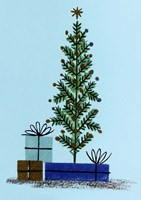 Xmas Tree And Gifts Fine Art Print
