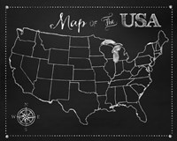 Chalkboard US Map Fine Art Print
