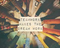 Teamwork Makes The Dream Work Stacking Hands Color Framed Print