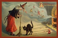 Halloween Witch And Cat Fine Art Print