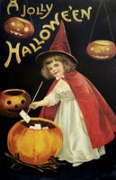 Little Red Halloween Witch Fine Art Print