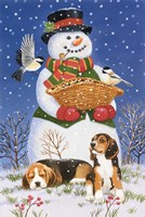 Snowman, Birds and Beagles Fine Art Print