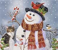 Snowman and Kitten Fine Art Print