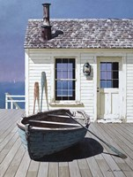 Blue Boat On Deck Fine Art Print