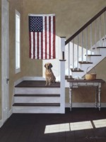 Dog On Stairs Fine Art Print