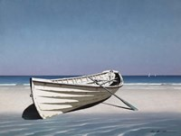 White Boat On Beach Fine Art Print