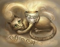 Coffee Cat Go Juice 2 Fine Art Print