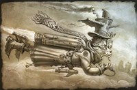 Steampunk Cat Rocketeer Fine Art Print