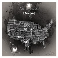 USA Map EBONY Fine Art Print