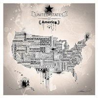 USA Map IVORY Fine Art Print