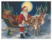 Santa with lantern Fine Art Print