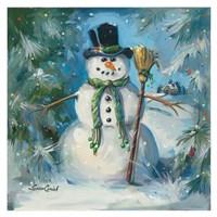 Sweeping Snowman Fine Art Print
