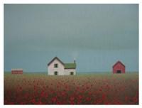 Farmstead in a Field of Poppies Fine Art Print