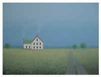 White Farmhouse Along the Old Country Lane Fine Art Print