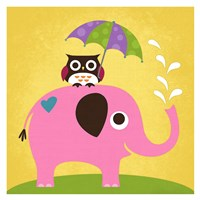 Elephant and Owl with Umbrella Fine Art Print