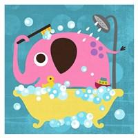 Elephant in Bathtub Fine Art Print