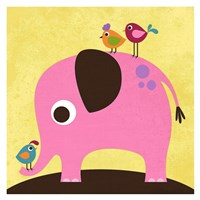 Elephant with Birds Fine Art Print