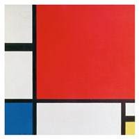 Composition II in Red, Blue, and Yellow Fine Art Print