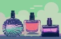 Vintage Fashion Perfume Bottles Green Fine Art Print