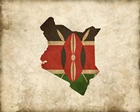 Map with Flag Overlay Kenya Fine Art Print