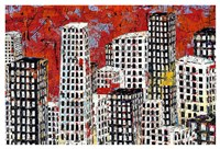 Red, Black and White Cityscape Fine Art Print