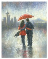 Seattle Lovers in the Rain Fine Art Print