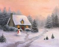 Snowman Cottage Fine Art Print
