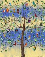 Bird and Bird Houses on Tree Fine Art Print