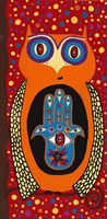 Owl With Evil Eye Hamsa Fine Art Print