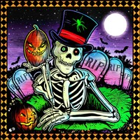 Skeleton and Pumpkin Fine Art Print