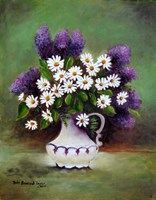 Butterfly Plant and Daisies Fine Art Print