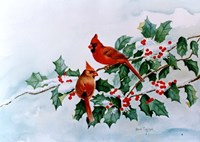 Cardinals and Holly Berries Fine Art Print