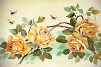Yellow Roses with Bees Fine Art Print