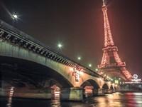 Eiffel & Bridge at Night Fine Art Print