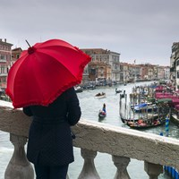 Red Umbrella in Venice Fine Art Print