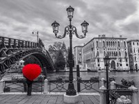 Venice BW with Red Fine Art Print