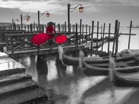 Gondolas BW & Red Fine Art Print