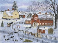 Dairy Farm at Christmas Fine Art Print