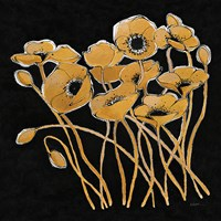 Gold Black Line Poppies I v2 Fine Art Print