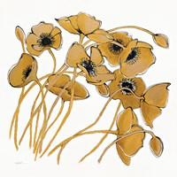 Gold Black Line Poppies II Fine Art Print