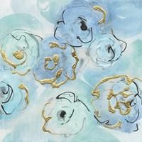 Gold Edged Teal II Framed Print