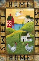 Home Sweet Home Chicken Rooster Angel Flag- Fine Art Print
