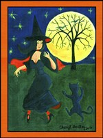 Halloween Witch Black Cat Moon Dance Fine Art Print