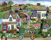 Country Folk Art Quilt Tag Sale Fine Art Print