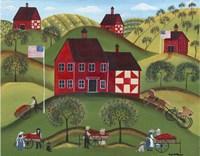 Primitive Americana Red Apple Barn Fine Art Print