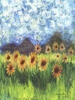 Sunflower Mountain Garden Flag Fine Art Print