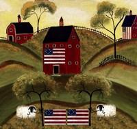 4th July Sheep Red Barns Fine Art Print